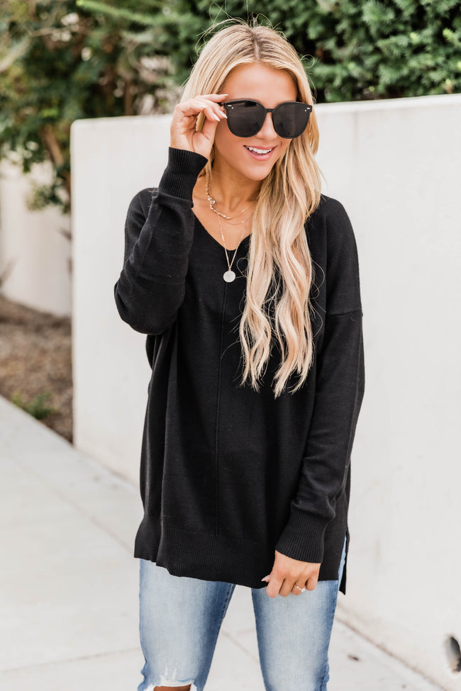 Something On Your Mind Black Sweater