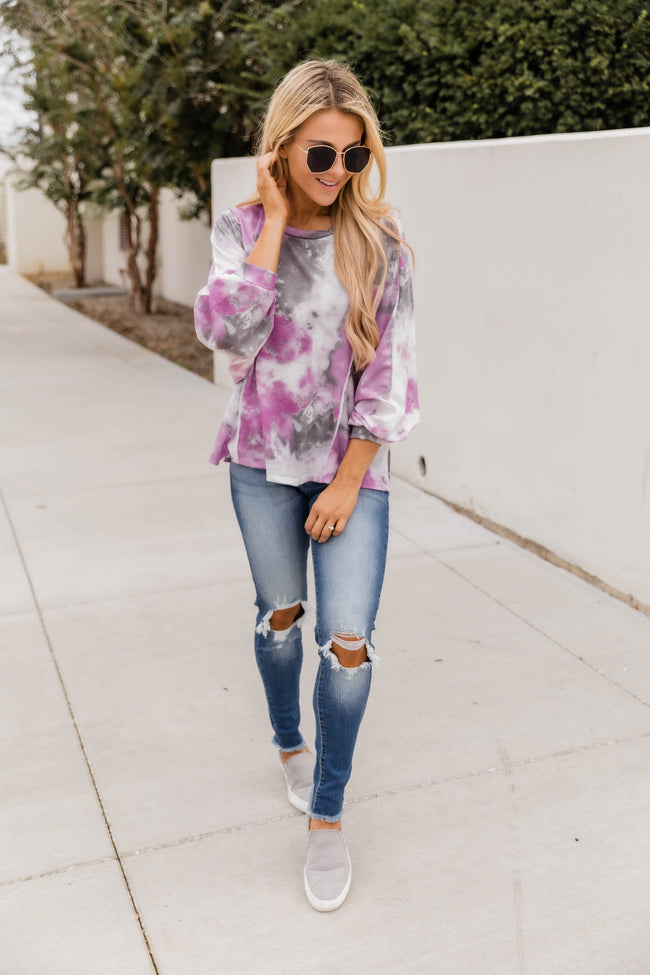 Always On The Run Tie Dye Blouse Pink/Grey