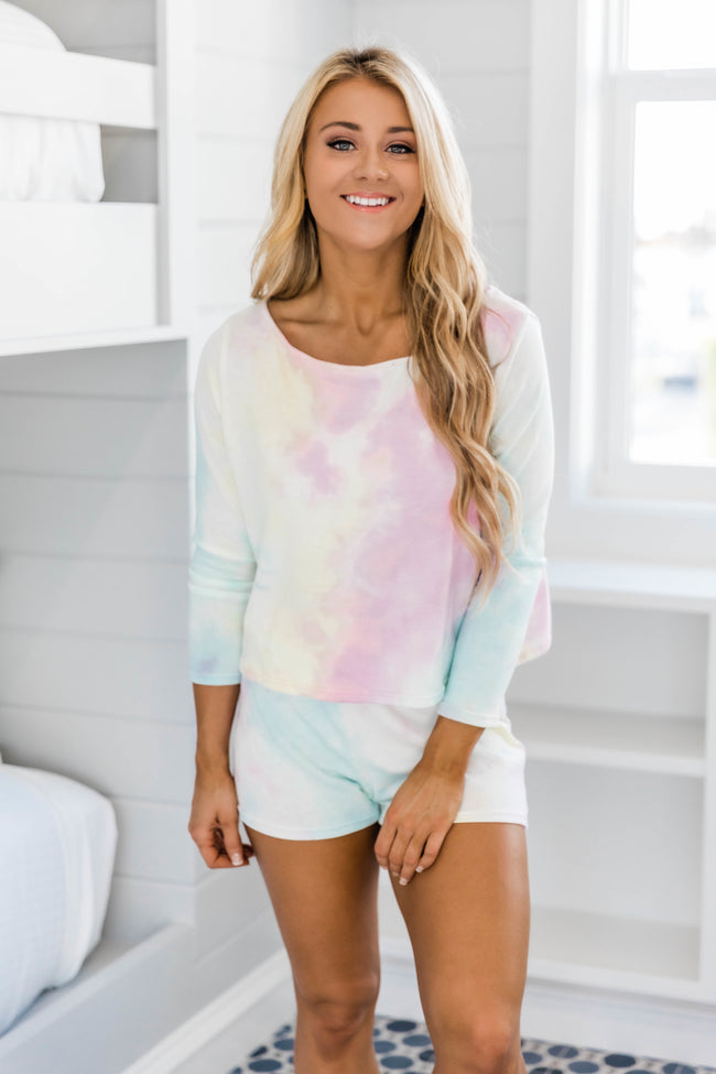 Array Of Sunshine Cropped Tie Dye Tee Pink/Mint