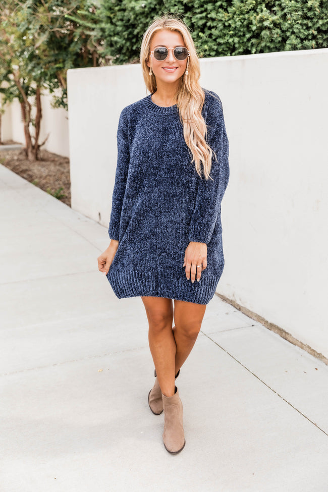 You Move Me Chenille Navy Sweater Dress FINAL SALE