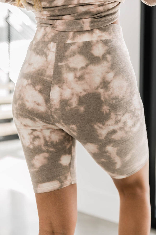Try A New Direction Tie Dye Brown Biker Shorts