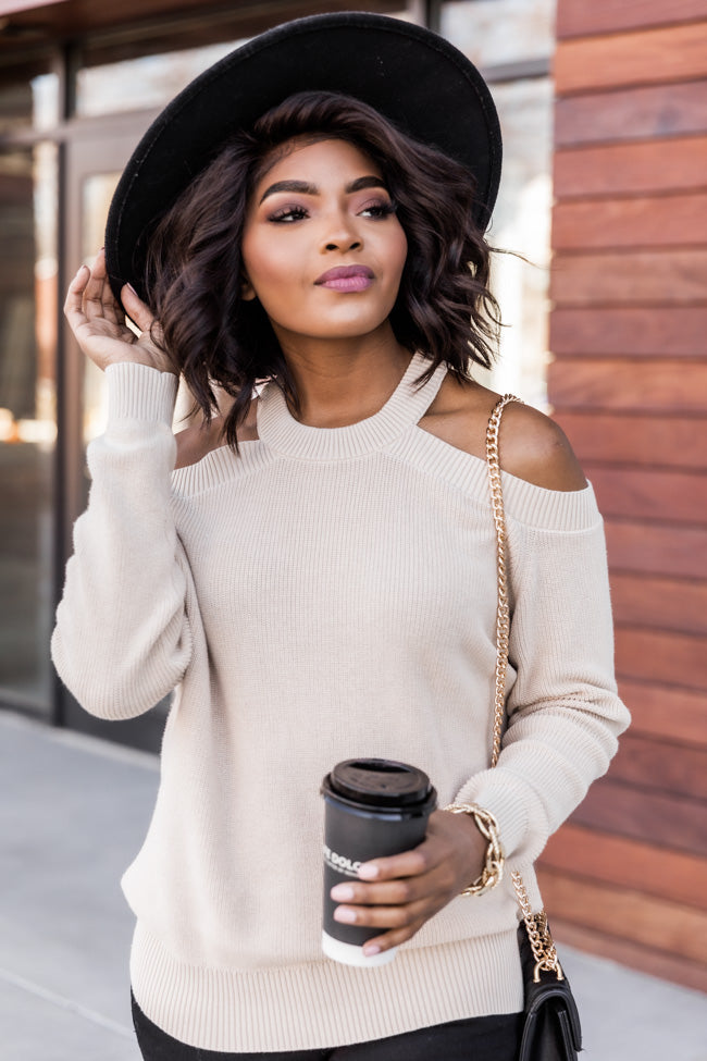 Spill The Gossip Cold Shoulder Cream Sweater