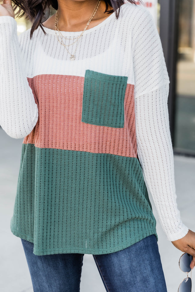 Glad To Be Yours Colorblock Green Blouse