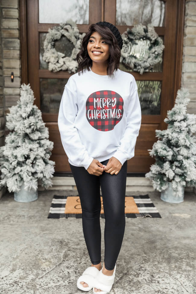 Merry Christmas Plaid Circle Graphic White Sweatshirt