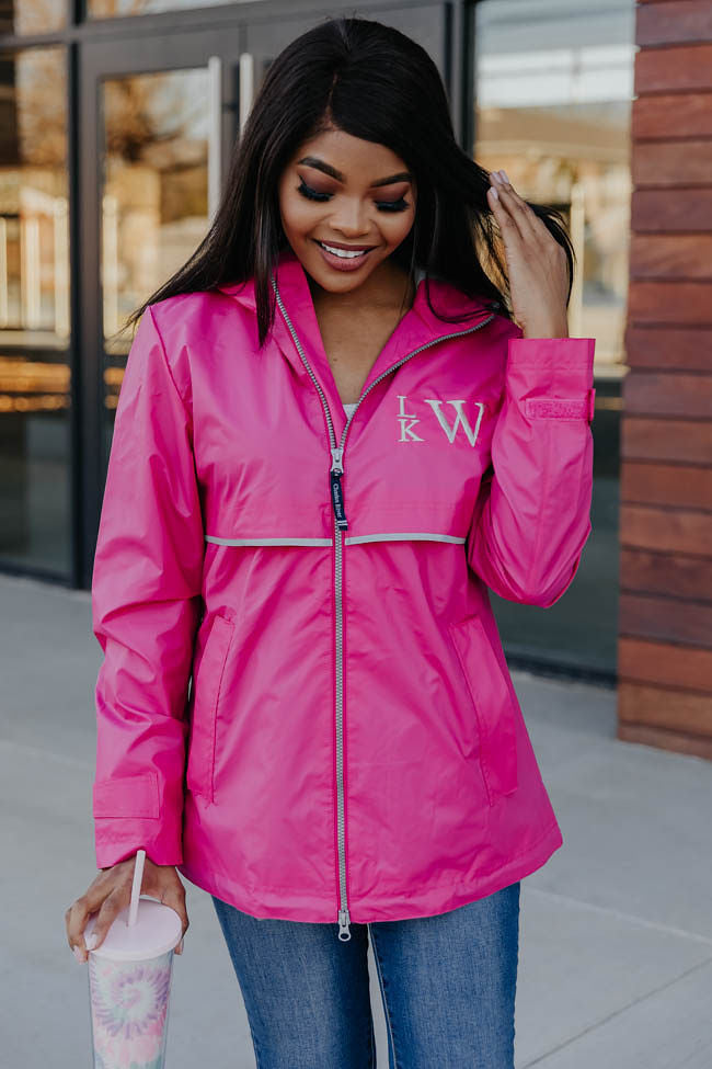 Personalized Hot Pink New Englander Rain Jacket