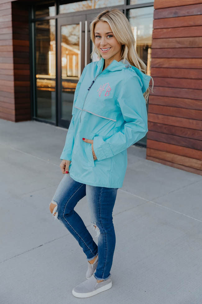Personalized Aqua New Englander Rain Jacket