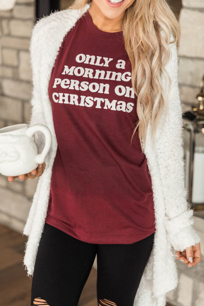 Only A Morning Person On Christmas Graphic Cardinal Red tee