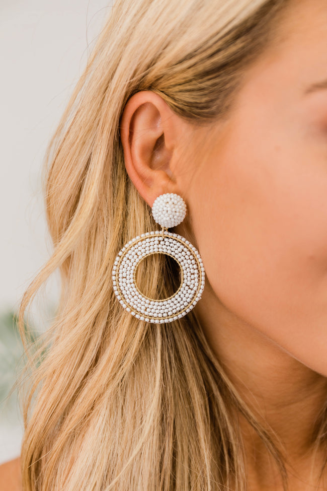 Stay Forever Beaded Hoops White