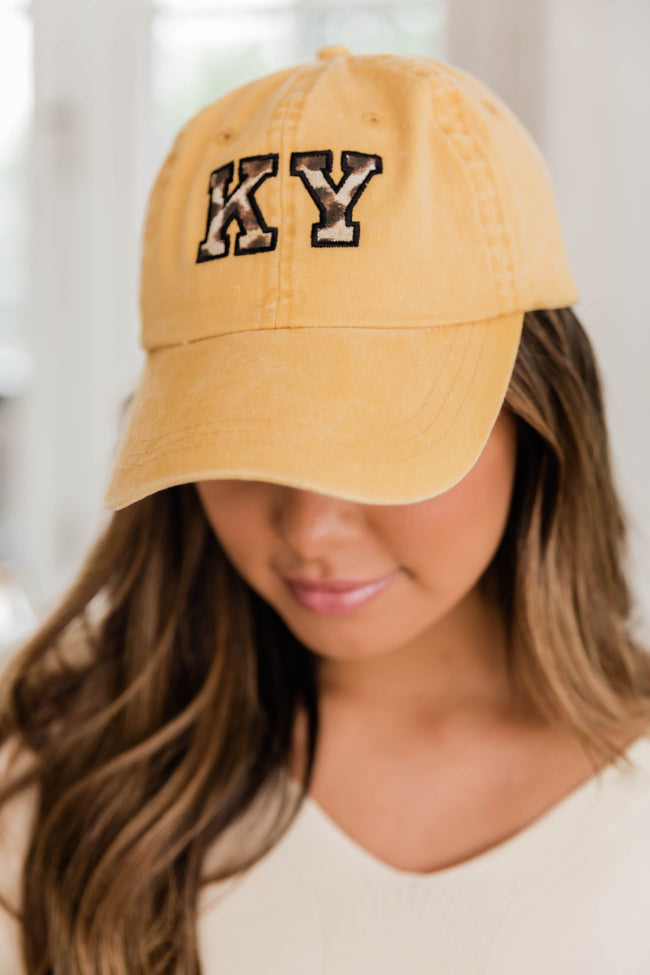 Leopard Print State Applique Yellow Baseball Cap