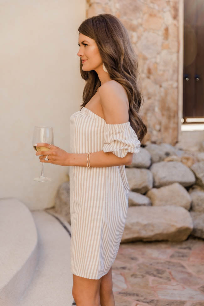 CAITLIN COVINGTON X PINK LILY The Tuscany Striped Off the Shoulder Tan Dress