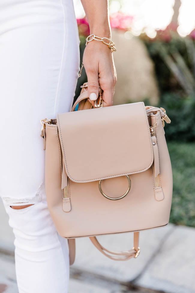 Worth The Chance Taupe Backpack