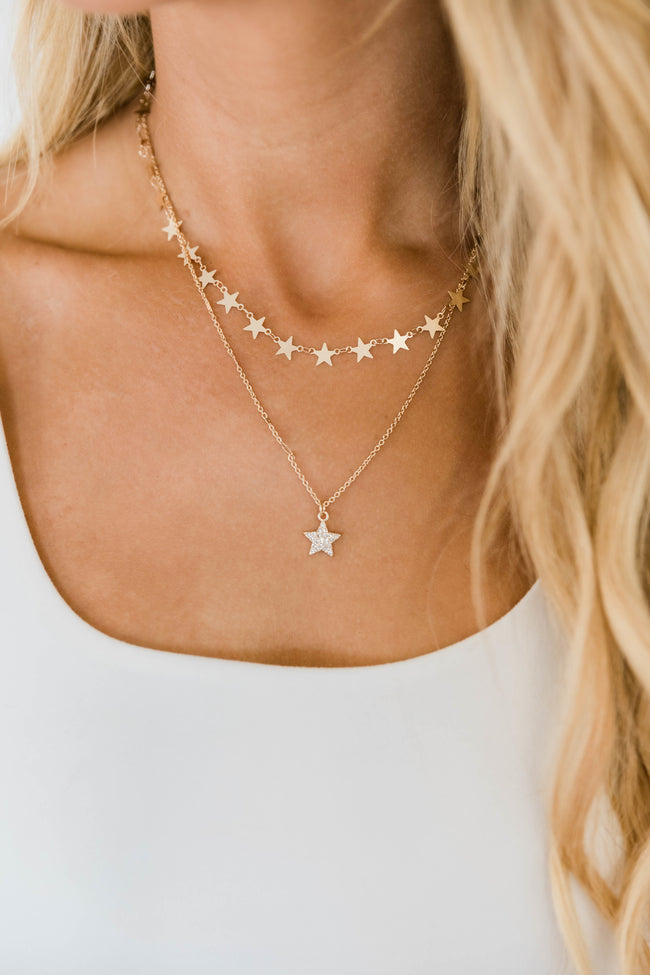 Layered In Stars Necklace Gold