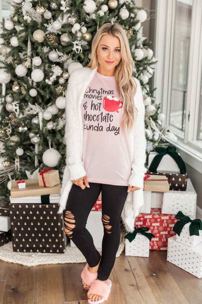 Christmas Movies And Hot Chocolate Graphic Pink Tee