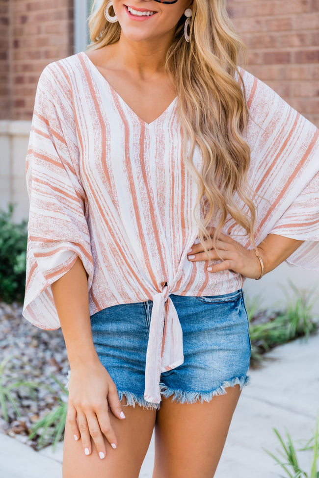 Know I'm Extra Stripe Blouse Rust