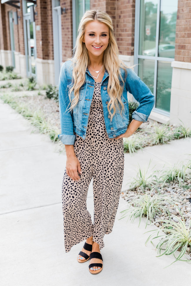 Aim For The Best Animal Print Jumpsuit Taupe