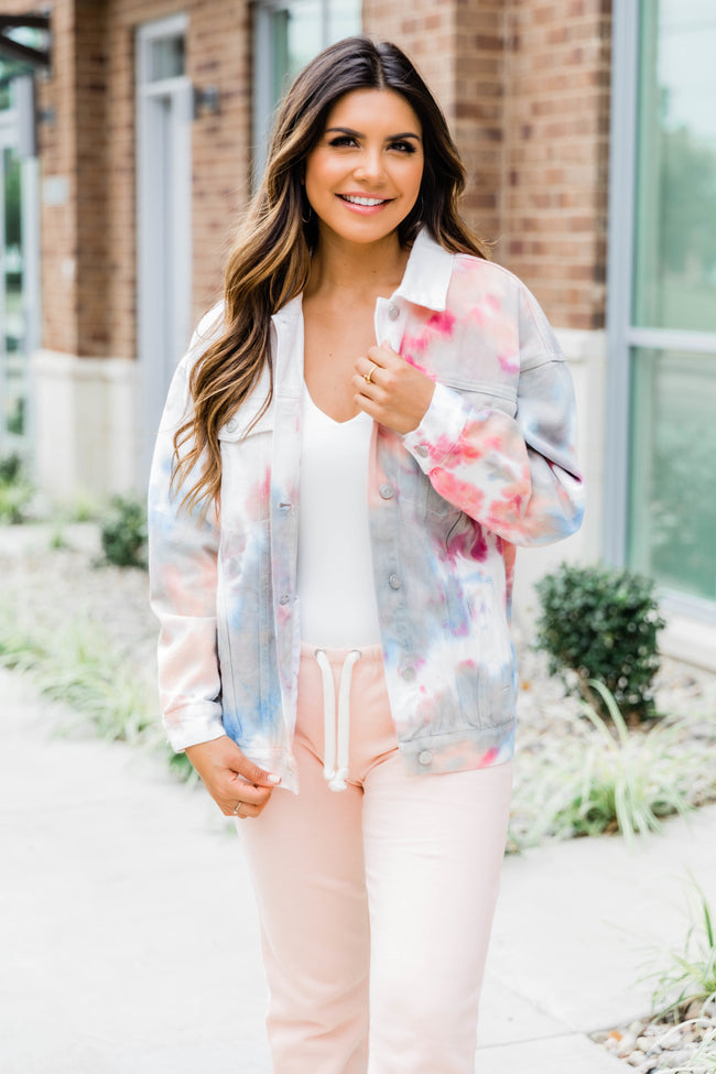 An Opportunity Awaits Tie Dye Denim Jacket Coral/Blue