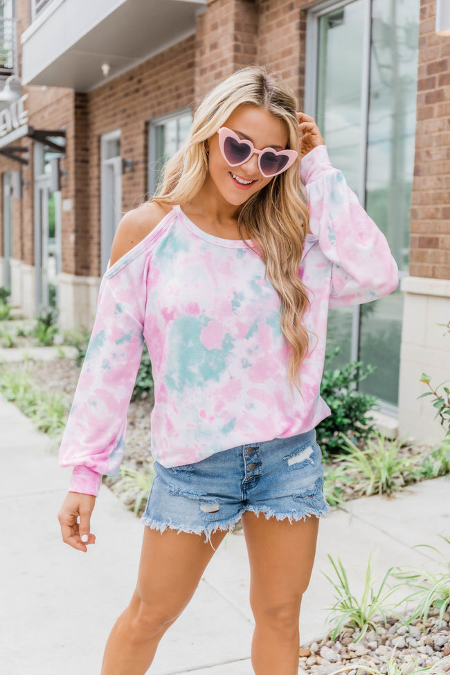 Lost In The Game Cold Shoulder Tie Dye Blouse Pink