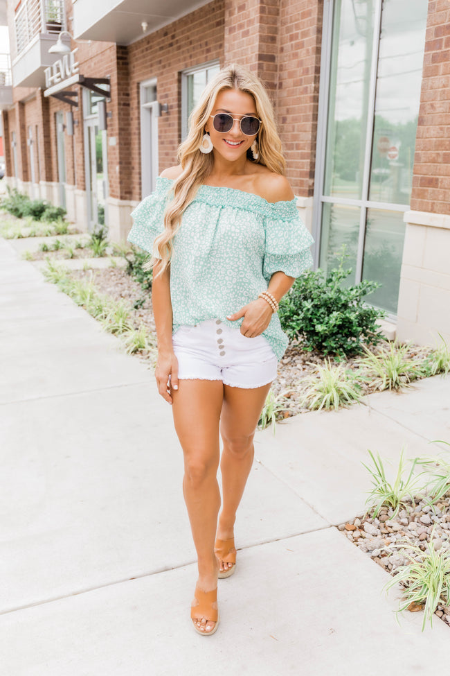 Never Out Of Style Animal Print Blouse Mint
