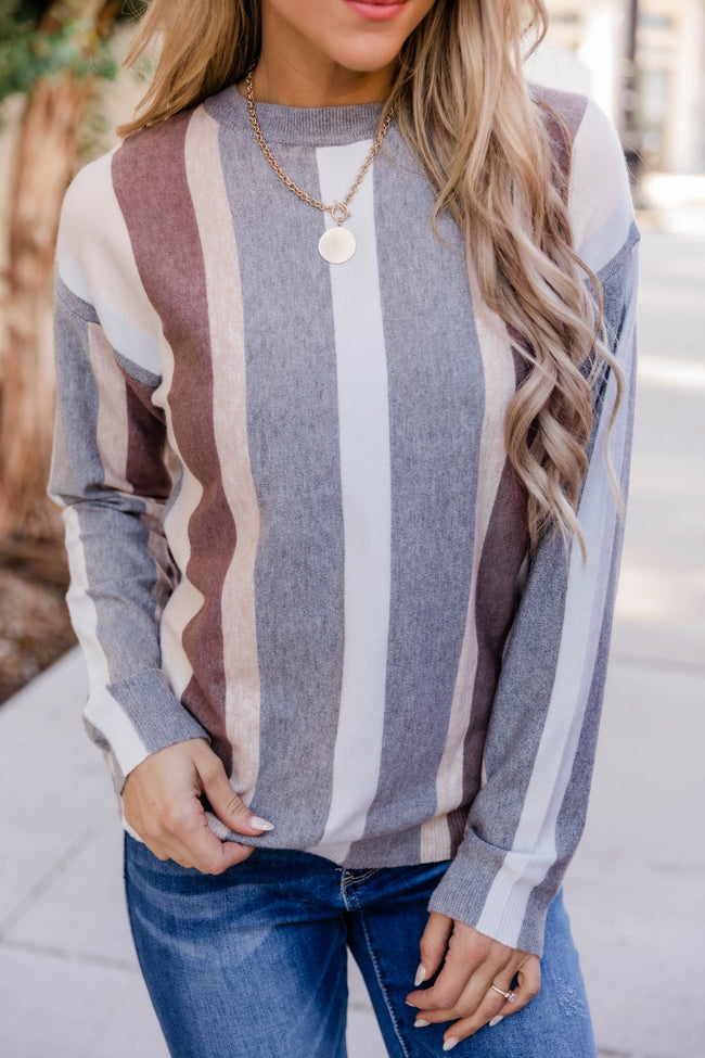 Streets Of Hope Striped Grey Sweater