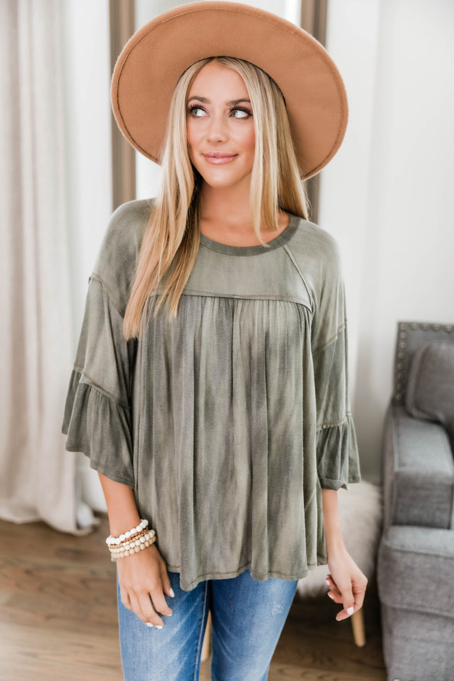 Genuine Smile Babydoll Blouse Olive