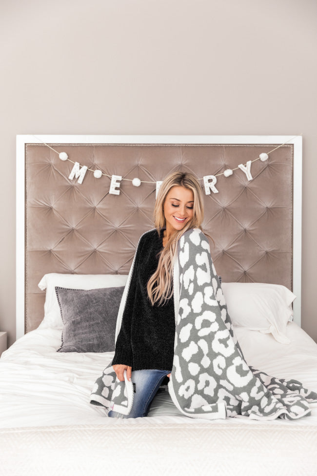 Keep You Warm Blanket Grey Animal Print
