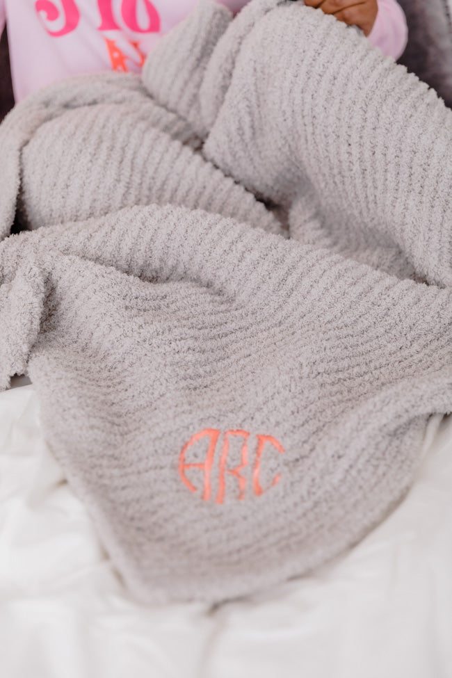 Maybe I'll Stay Monogrammed Grey Blanket