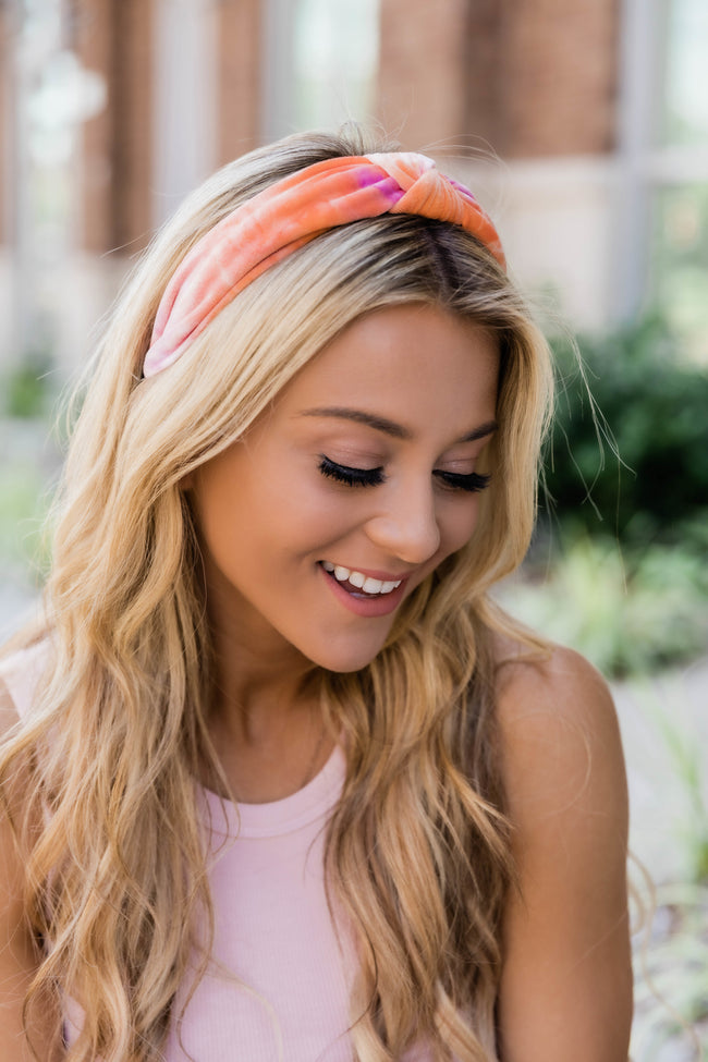 Fantasy World Tie Dye Headband Orange/Pink