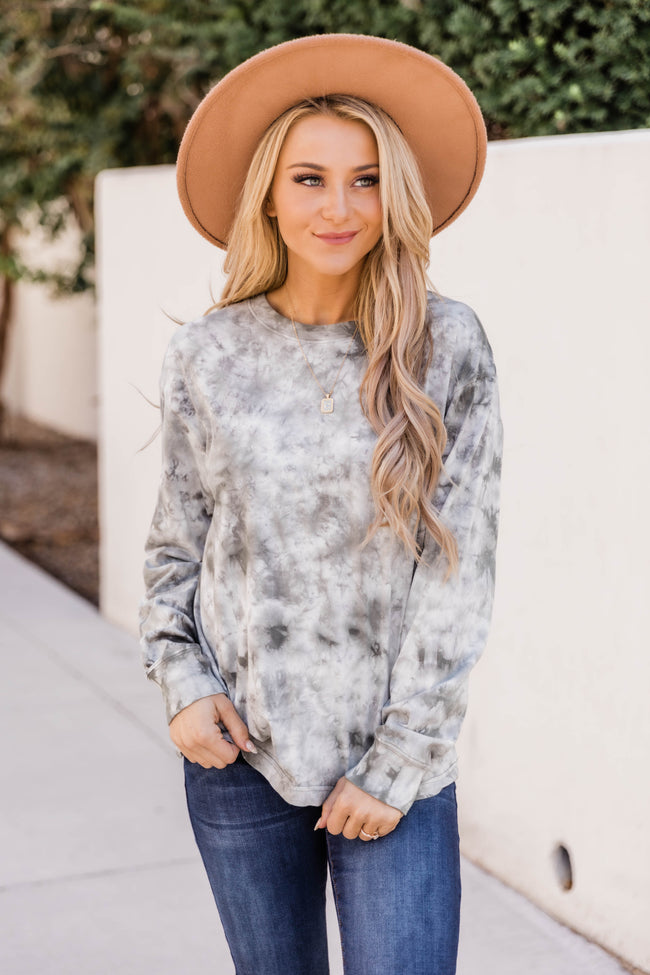 Clever Ideas Tie Dye Olive Blouse