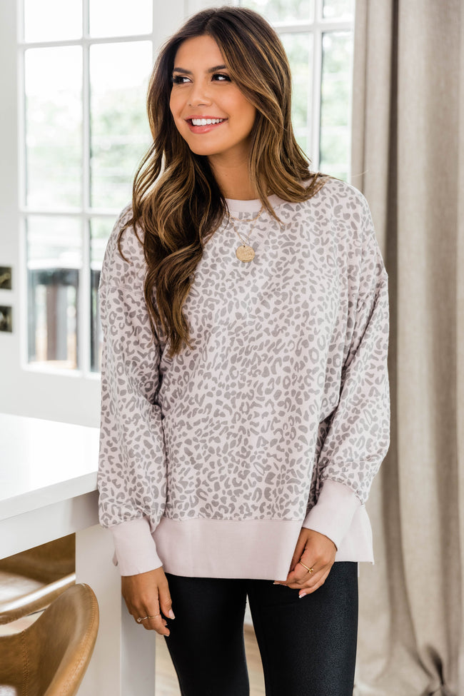 Disguise My Love Beige Animal Print Pullover