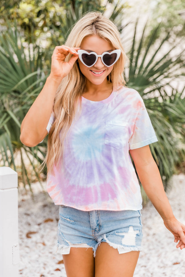 Sweetheart Wishes Tie Dye Cropped Tee Rainbow FINAL SALE