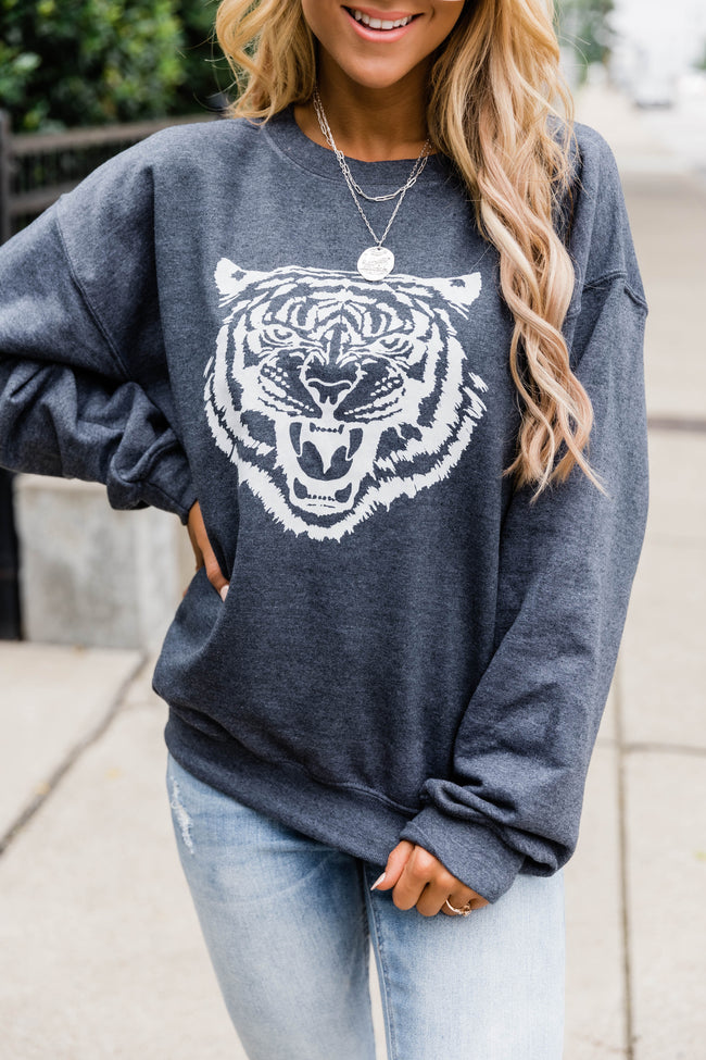 White Tiger Dark Heather Graphic Sweatshirt