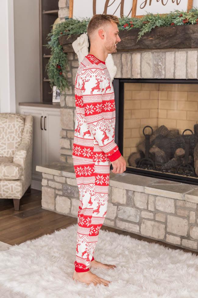 Winter Delight Men's Ivory/Red Pajama Top