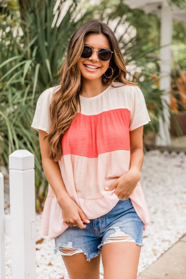 Savor Summer Tiered Blouse Coral
