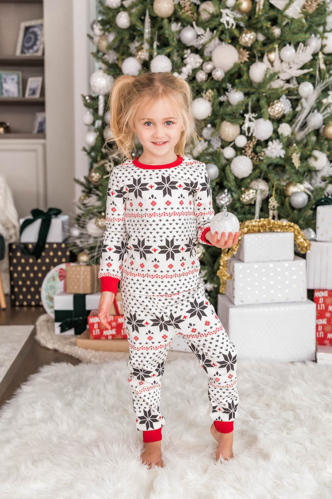 Wishing For Snow Days Kids Snowflake Pajama Set