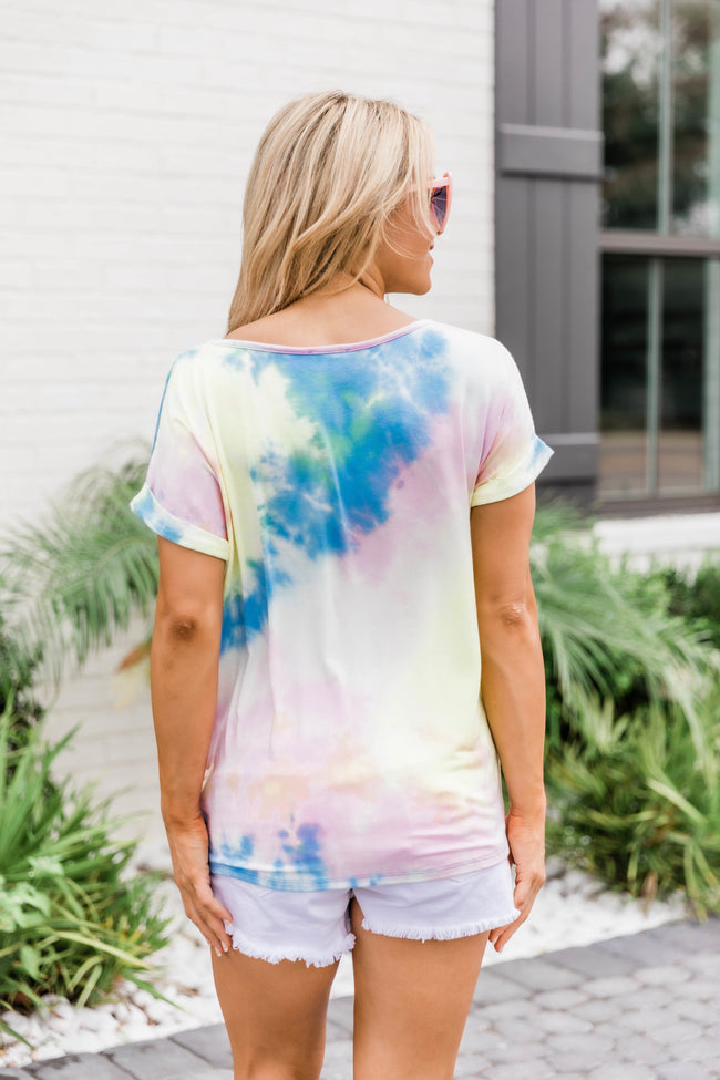 Bringing The Sunshine Blue Tie Dye Blouse FINAL SALE