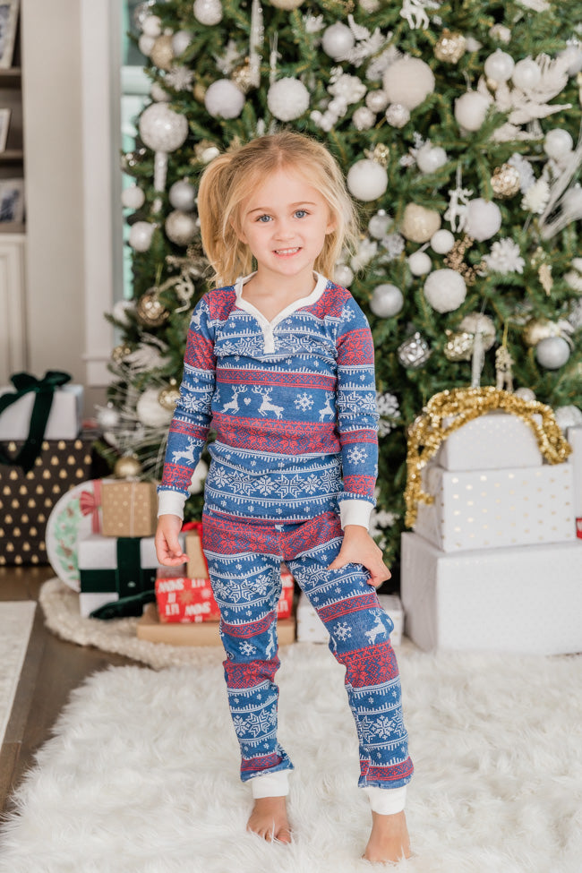 Joy To The World Kids Pajama Navy Set