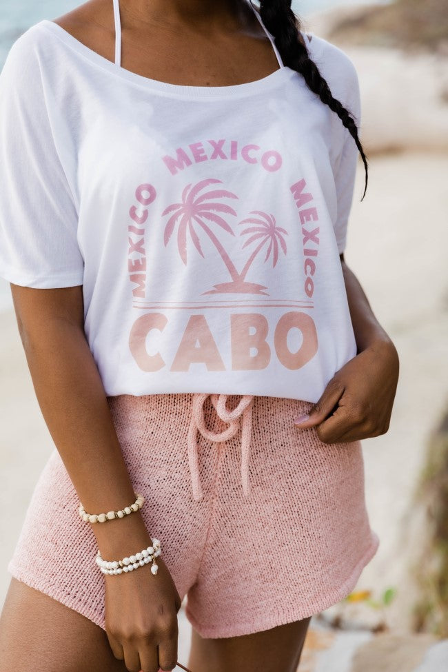 Cabo White Slouchy Graphic Tee