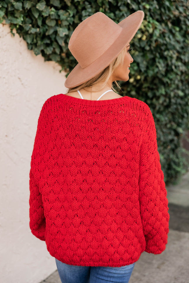 Better Than That Chunky Cropped Red Sweater FINAL SALE