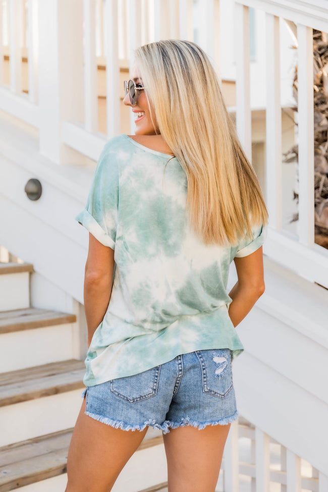 Bringing The Sunshine Sage Tie Dye Blouse