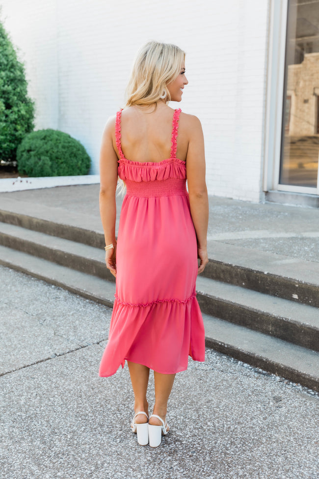 Undeniably You Solid Midi Dress Rose