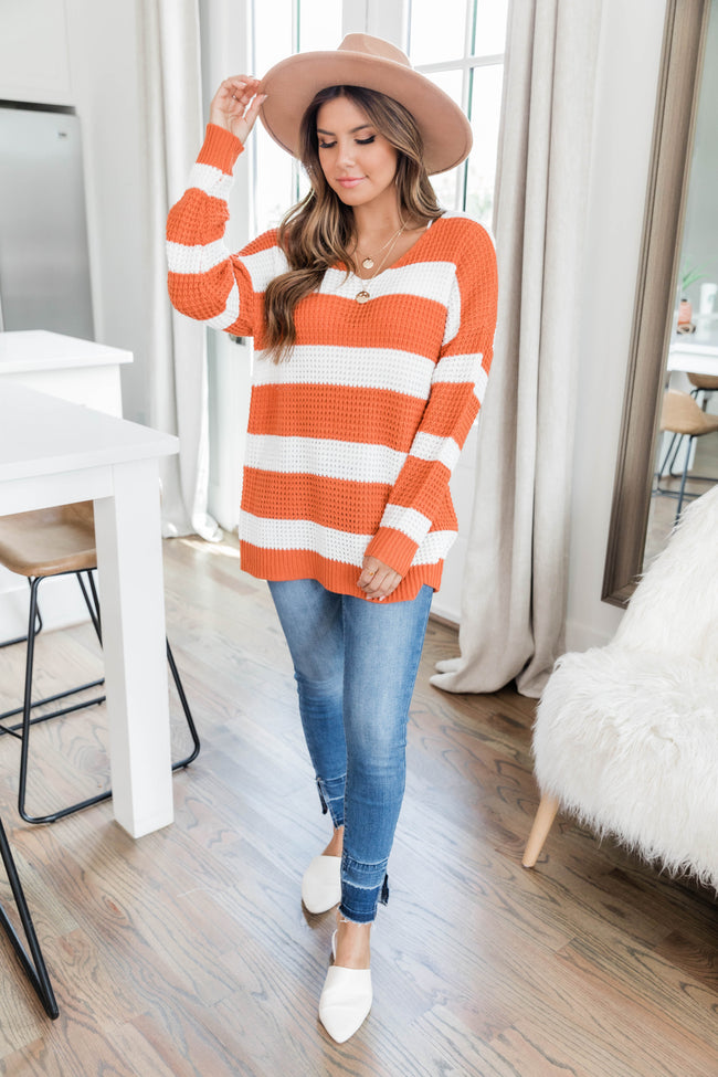 Wishing To See You Orange Striped Sweater FINAL SALE