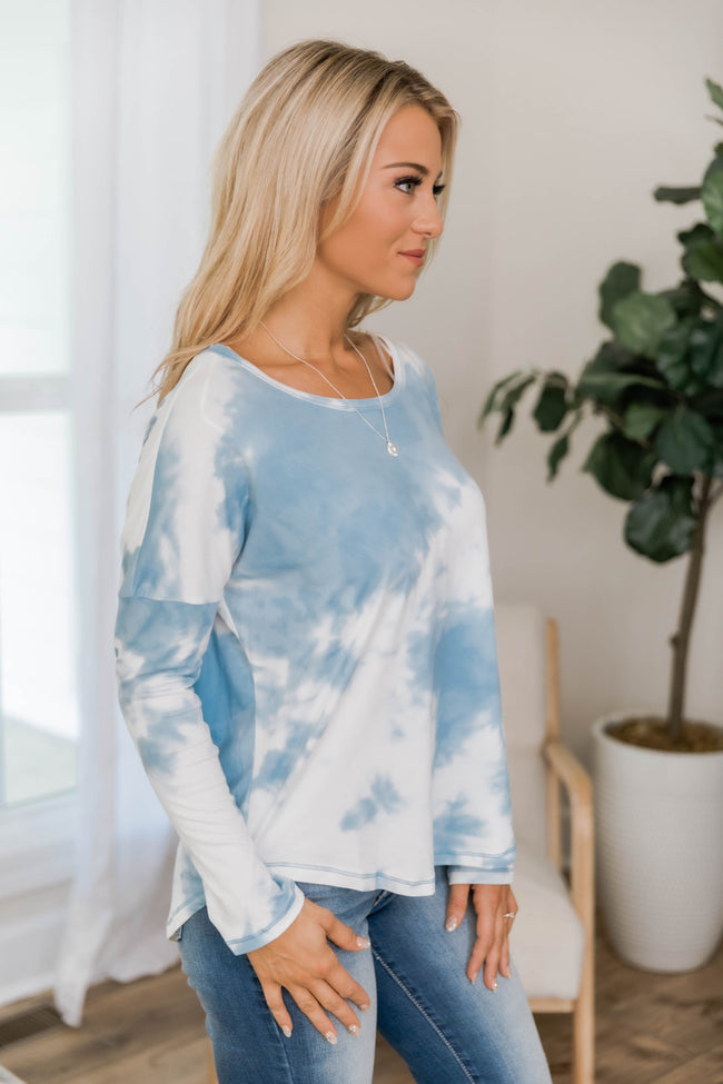 Head In The Clouds Tie Dye Blouse Blue