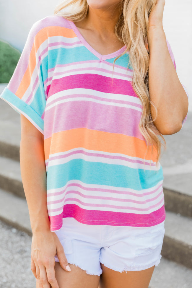 Don't Give In Striped Blouse Pink/Orange