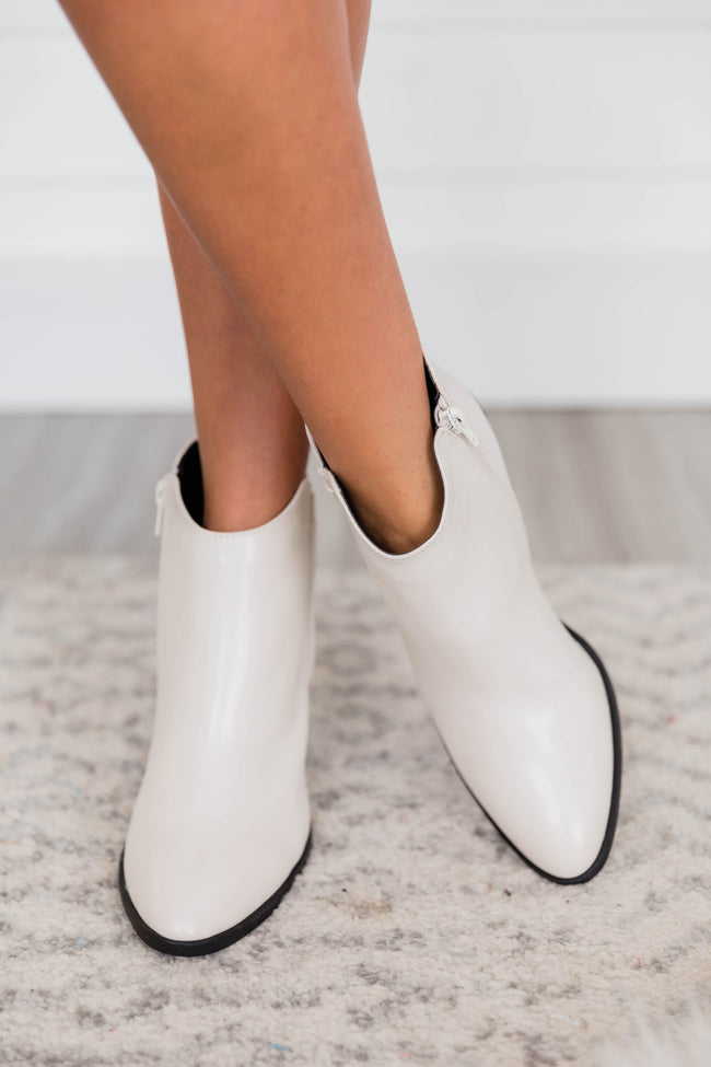 Sylvia Leather White Booties
