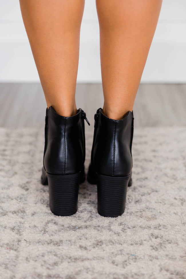 Sylvia Leather Black Booties
