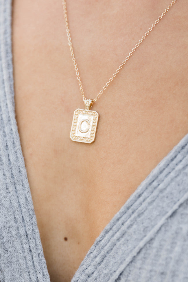 Unique And Chic Gold Tag Initial Necklace