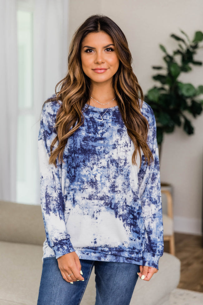 Complicated Decisions Tie Dye Pullover Navy FINAL SALE