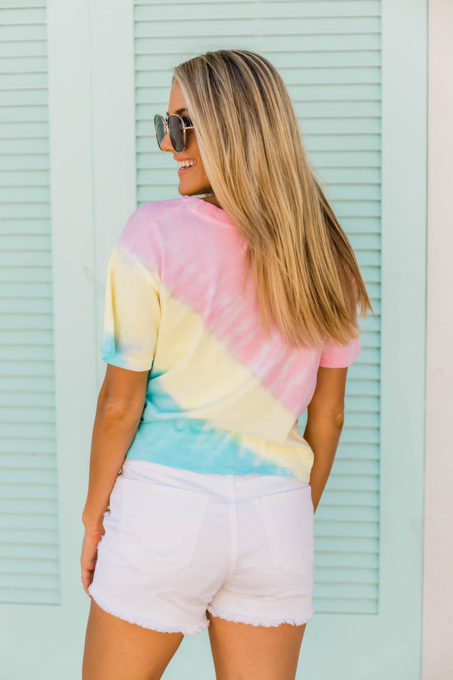 I'm Fashionably late Tie Dye Tee Pink/Yellow FINAL SALE