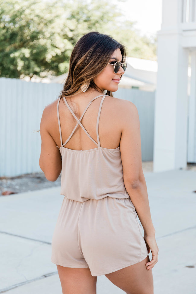 Uptown Girl Romper Taupe