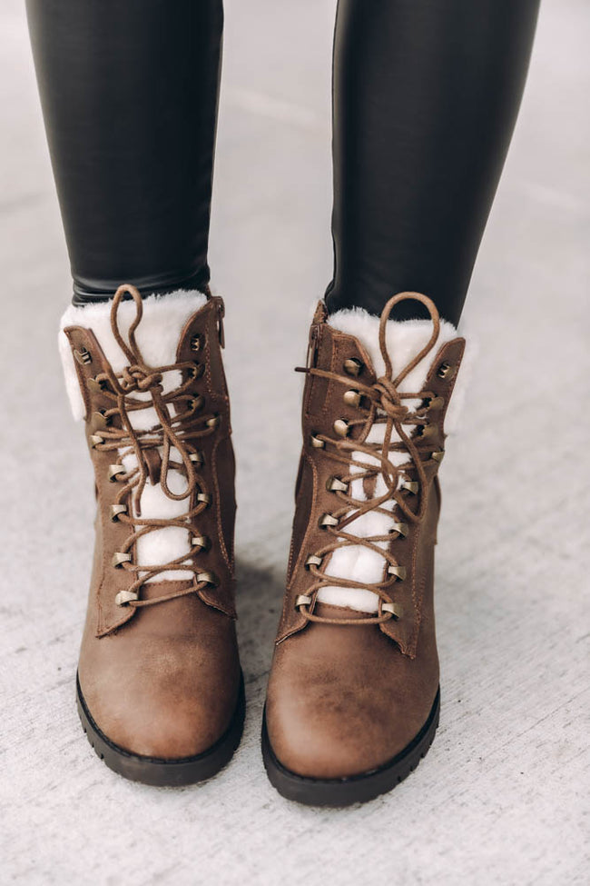 Candice Tan Lace Up Booties
